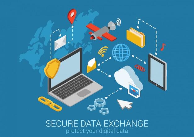 Illustrazione isometrica di concetto online di crittografia del collegamento sicuro di protezione dei dati di sicurezza dei dati.