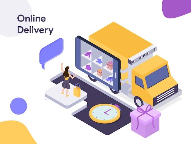 Illustrazione isometrica di consegna online