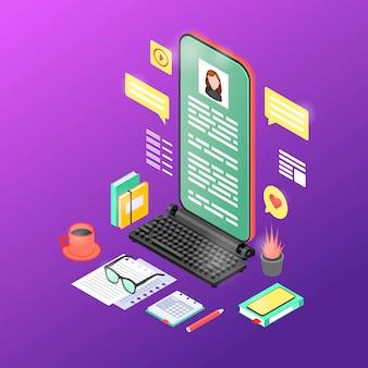 Illustrazione isometrica di contenuto di marketing mobile.