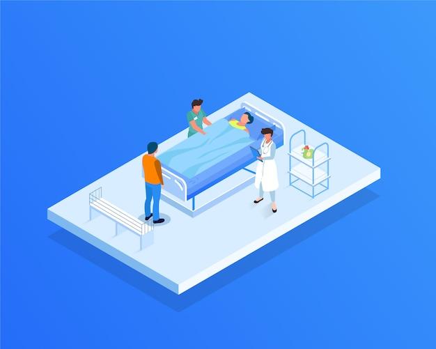 Illustrazione isometrica di cura del paziente