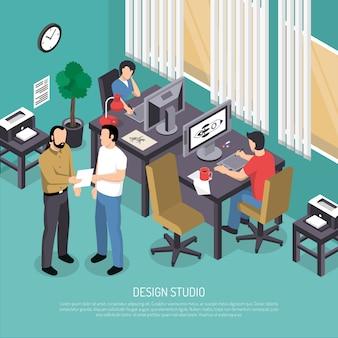 Illustrazione isometrica di design studio