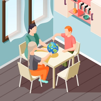 Illustrazione isometrica di educazione alternativa con insegnante e alunni durante la lezione di geografia