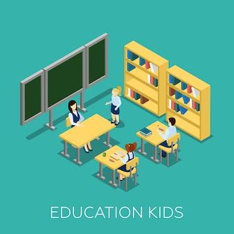 Illustrazione isometrica di educazione
