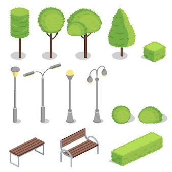 Illustrazione isometrica di elementi 3d del parco