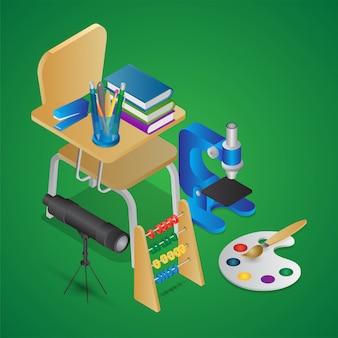 Illustrazione isometrica di elementi di istruzione come come sedia di scuola con libri, microscopio, telescopio, abaco e pennello da disegno