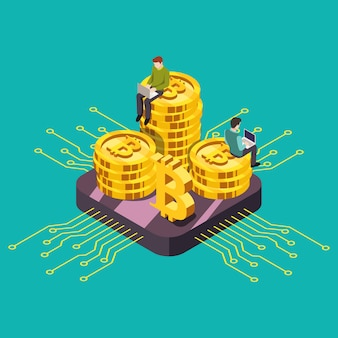 Illustrazione isometrica di estrazione mineraria di gpu di criptovaluta valuta digitale.