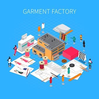 Illustrazione isometrica di fabbrica di abbigliamento con simboli e modelli di campioni