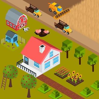 Illustrazione isometrica di fattoria