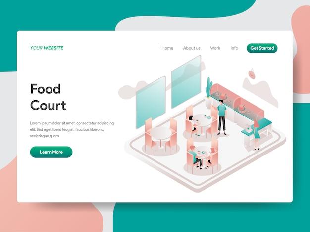 Illustrazione isometrica di food court. pagina di destinazione