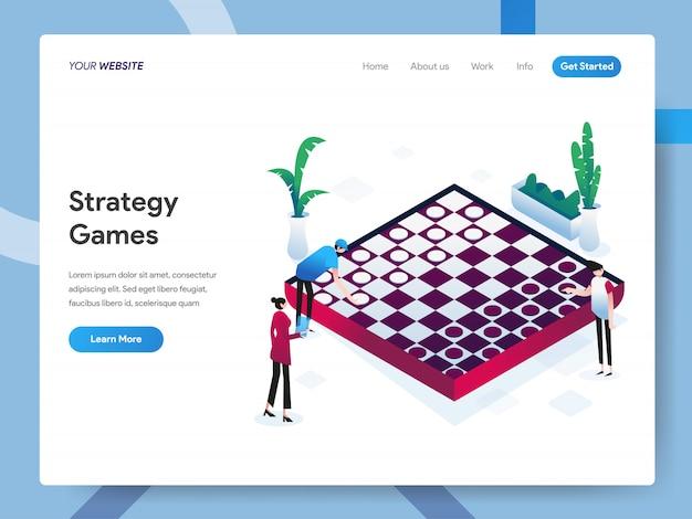 Illustrazione isometrica di giochi di strategia per la pagina web