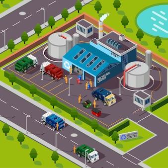 Illustrazione isometrica di impianto di riciclaggio