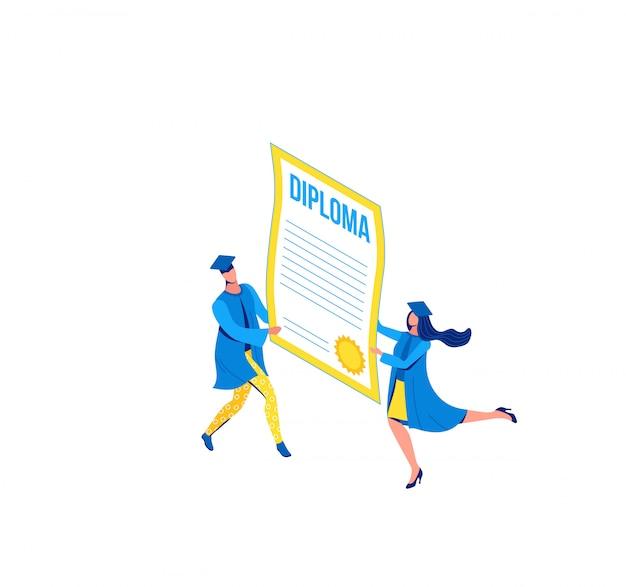 Illustrazione isometrica di laurea, laureati in possesso di diploma