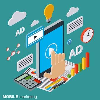Illustrazione isometrica di marketing mobile