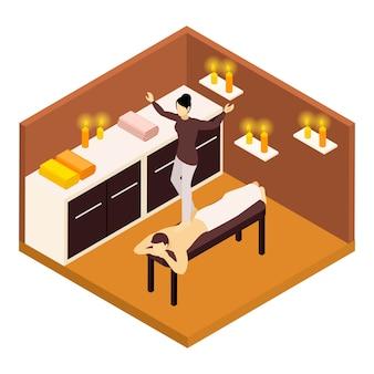 Illustrazione isometrica di massaggio alla schiena