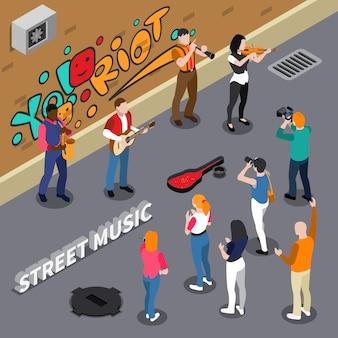 Illustrazione isometrica di musicisti di strada