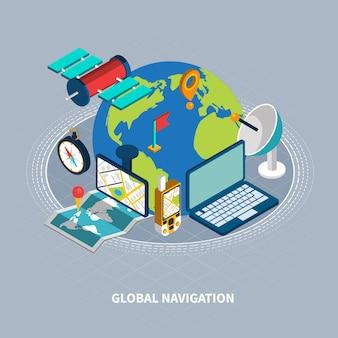 Illustrazione isometrica di navigazione globale