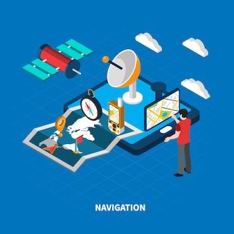 Illustrazione isometrica di navigazione