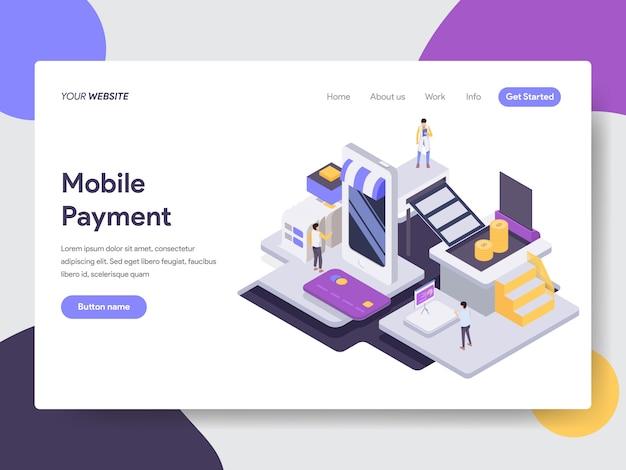 Illustrazione isometrica di pagamento mobile