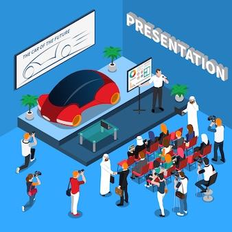Illustrazione isometrica di presentazione auto