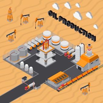 Illustrazione isometrica di produzione di petrolio