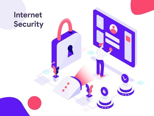 Illustrazione isometrica di sconto di sicurezza di internet