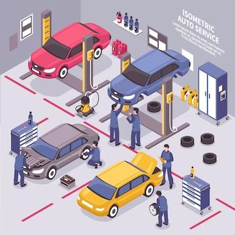 Illustrazione isometrica di servizio auto