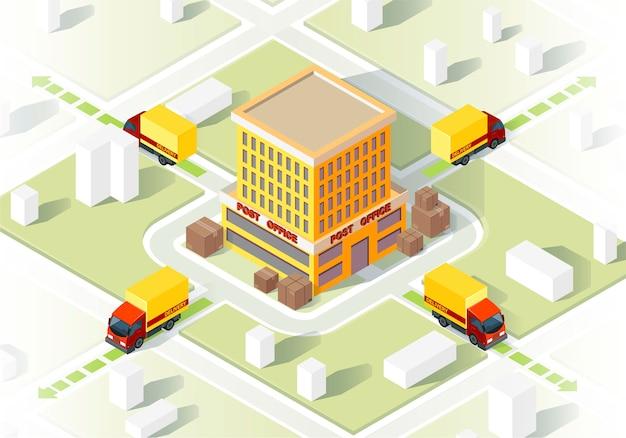 Illustrazione isometrica di servizio di consegna