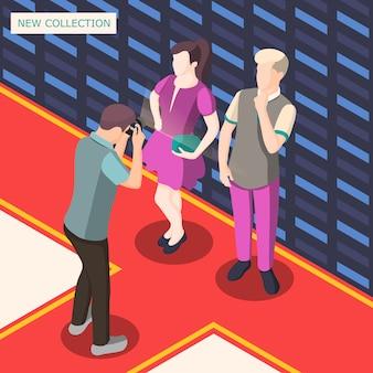 Illustrazione isometrica di servizio fotografico di moda