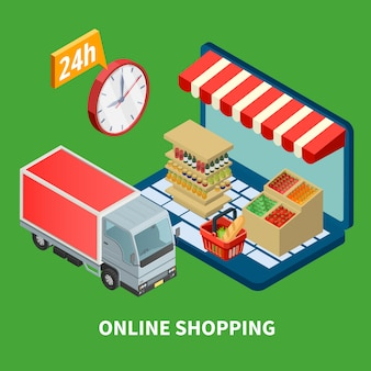 Illustrazione isometrica di shopping online