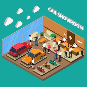 Illustrazione isometrica di showroom dell'automobile