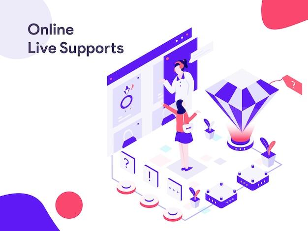 Illustrazione isometrica di supporto dal vivo online