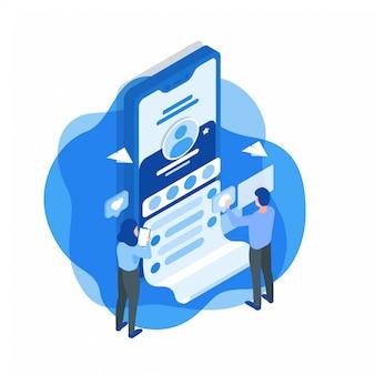 Illustrazione isometrica di sviluppo di applicazioni di media sociali