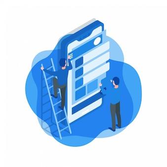 Illustrazione isometrica di sviluppo di applicazioni mobili