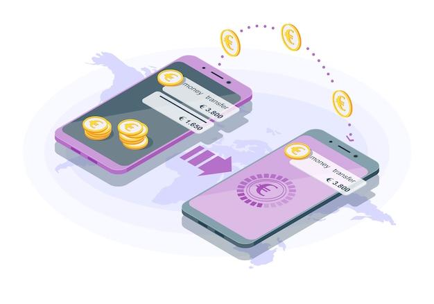 Illustrazione isometrica di trasferimento di denaro internazionale