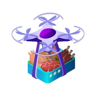 Illustrazione isometrica di trasporto cibo scatola drone