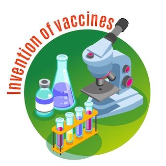 Illustrazione isometrica di vaccinazione con immagini di microscopio e tubi di vetro riempiti con liquidi colorati con testo
