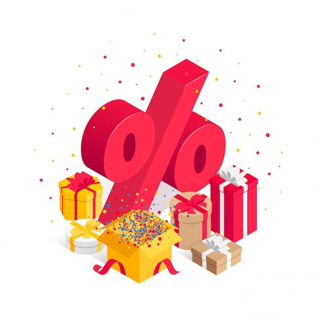 Illustrazione isometrica di vendita eccellente con il segno di percentuali, mucchio del contenitore di regalo, coriandoli isolati su bianco.