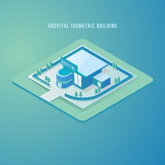 Illustrazione isometrica di vettore che rappresenta la costruzione dell'ospedale