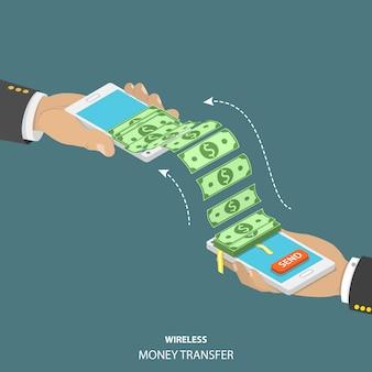Illustrazione isometrica di vettore del trasferimento di denaro senza fili.