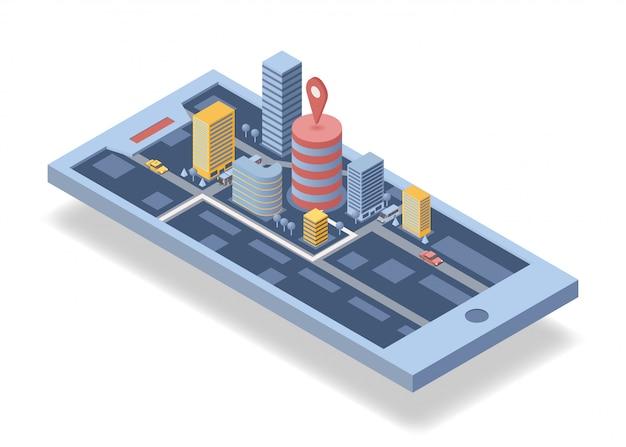 Illustrazione isometrica di vettore dell'applicazione di navigazione mobile