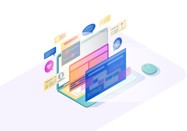 Illustrazione isometrica di vettore dell'interfaccia utente del computer portatile