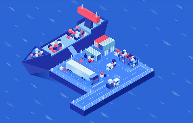 Illustrazione isometrica di vettore della consegna della spedizione. caricamento di navi industriali nel porto marittimo, hub logistico di navi mercantili. servizio di spedizione merci, importazione ed esportazione di affari, trasporto marittimo