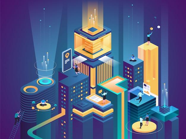 Illustrazione isometrica di vettore della piattaforma di affari
