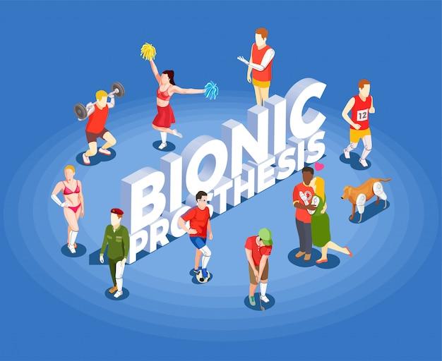 Illustrazione isometrica di vettore della protesi bionica
