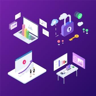 Illustrazione isometrica di vettore della tecnologia futura moderna di scena dell'ufficio di affari.