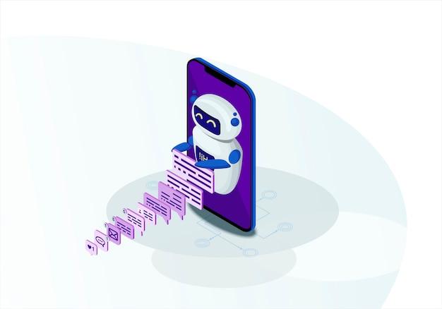 Illustrazione isometrica di vettore di chatbot