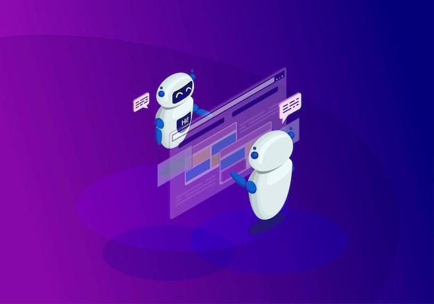 Illustrazione isometrica di vettore di colore di chatbots