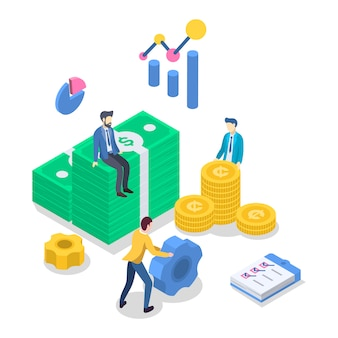 Illustrazione isometrica di vettore di colore di contabilità. revisione finanziaria. gestione del bilancio strategia d'affari. investimento. bancario. contabilità. le persone contano soldi. concetto 3d isolato su bianco