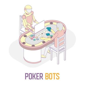 Illustrazione isometrica di vettore di concetto dei bot di poker