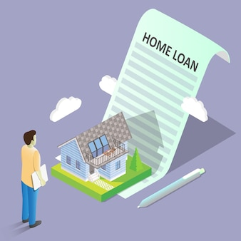Illustrazione isometrica di vettore di concetto di prestito immobiliare